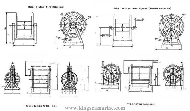 mooring steel wire reel  type aw mooring steel wire reel